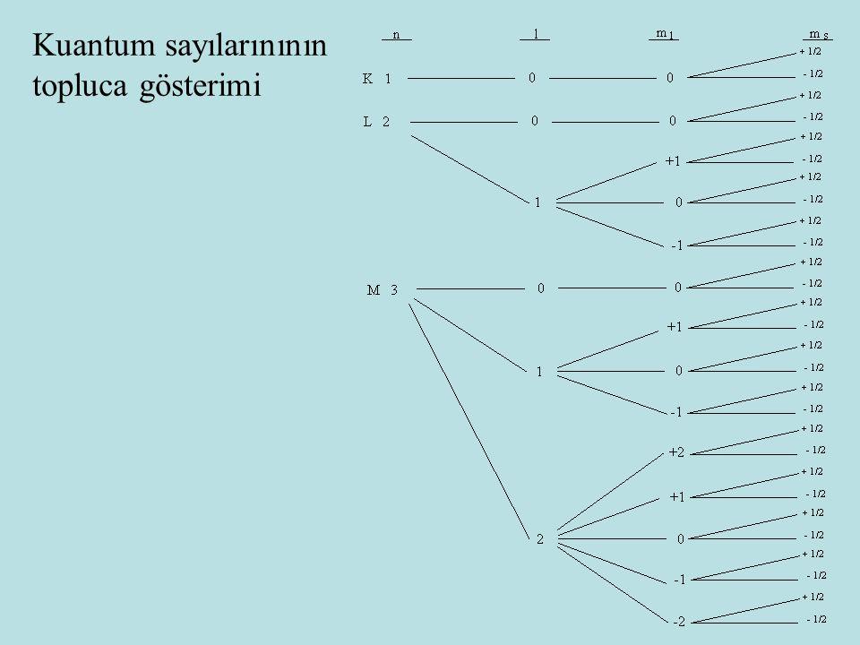 Kuantum sayılarınının topluca gösterimi