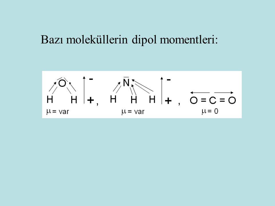 Bazı moleküllerin dipol momentleri: