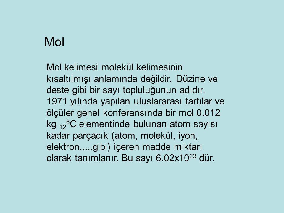 Mol kelimesi molekül kelimesinin kısaltılmışı anlamında değildir. Düzine ve deste gibi bir sayı topluluğunun adıdır. 1971 yılında yapılan uluslararası