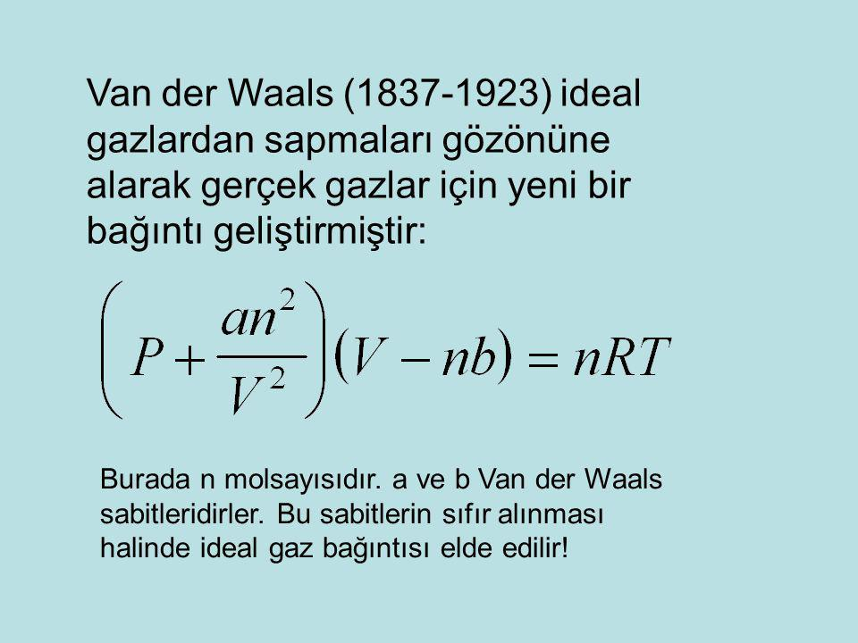Van der Waals (1837-1923) ideal gazlardan sapmaları gözönüne alarak gerçek gazlar için yeni bir bağıntı geliştirmiştir: Burada n molsayısıdır. a ve b