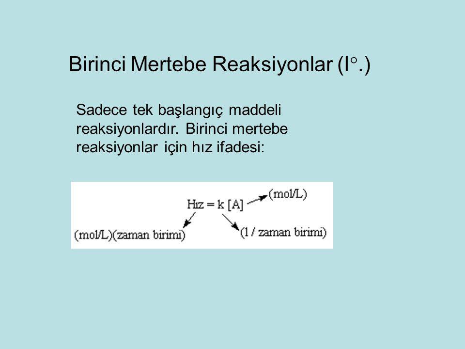 Sadece tek başlangıç maddeli reaksiyonlardır. Birinci mertebe reaksiyonlar için hız ifadesi: Birinci Mertebe Reaksiyonlar (I .)