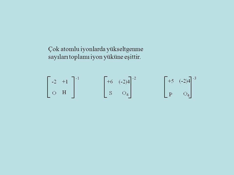 Çok atomlu iyonlarda yükseltgenme sayıları toplamı iyon yüküne eşittir.