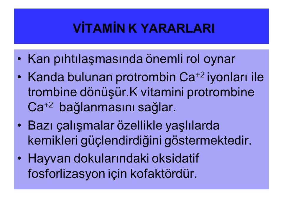 VİTAMİN K YARARLARI Kan pıhtılaşmasında önemli rol oynar Kanda bulunan protrombin Ca +2 iyonları ile trombine dönüşür.K vitamini protrombine Ca +2 bağlanmasını sağlar.