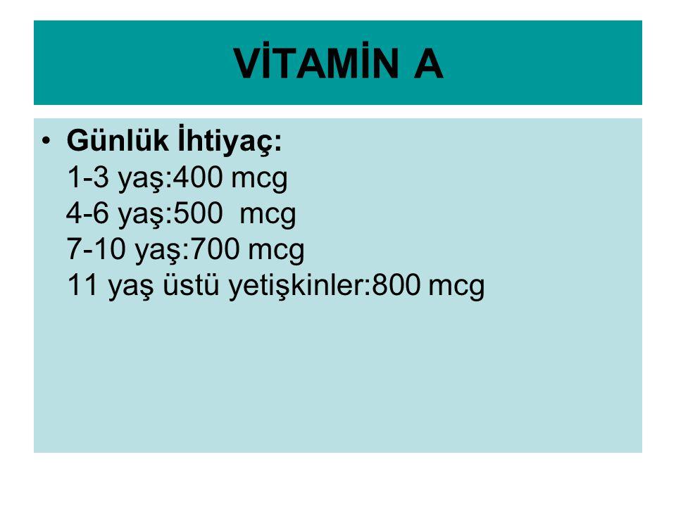 A VİTAMİNİ AÇISINDAN ZENGİN BESİNLER: Patates:1 orta boy (2,487mcg) Havuç1 tane (2,025mcg) Mango1 orta boy (805mcg) Ispanak1/2 kase (737mcg) Kayısı10 tane (253mcg) Süt1 bardak (149mcg) Peynir1 kibrit kutusu (84mcg)