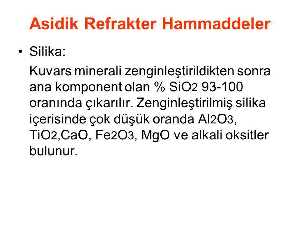 Asidik Refrakter Hammaddeler Silika: Kuvars minerali zenginleştirildikten sonra ana komponent olan % SiO 2 93-100 oranında çıkarılır. Zenginleştirilmi