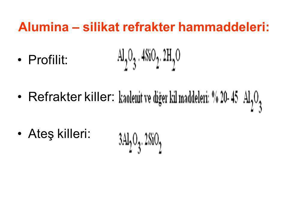 Alumina – silikat refrakter hammaddeleri: Profilit: Refrakter killer: Ateş killeri: