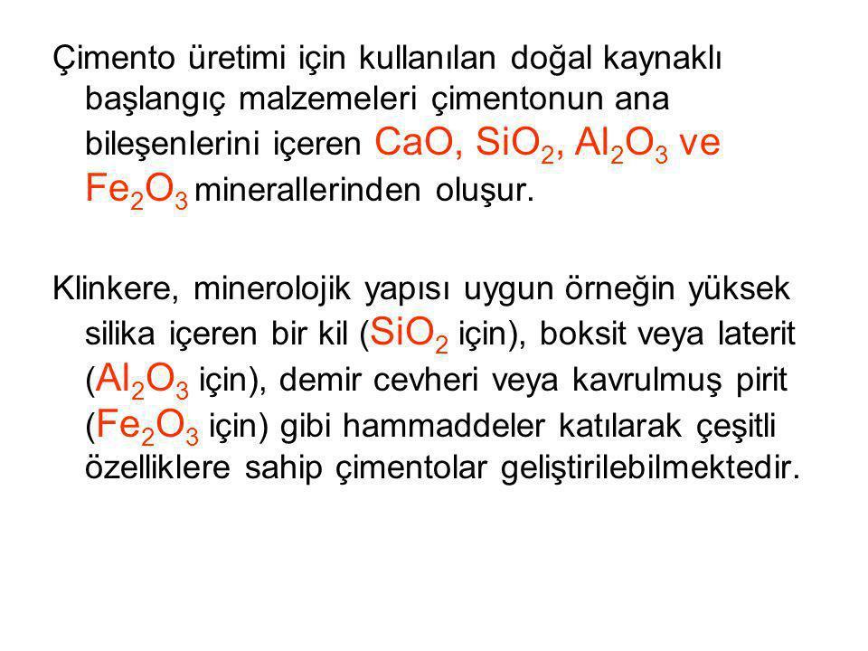 Çimento üretimi için kullanılan doğal kaynaklı başlangıç malzemeleri çimentonun ana bileşenlerini içeren CaO, SiO 2, Al 2 O 3 ve Fe 2 O 3 minerallerin