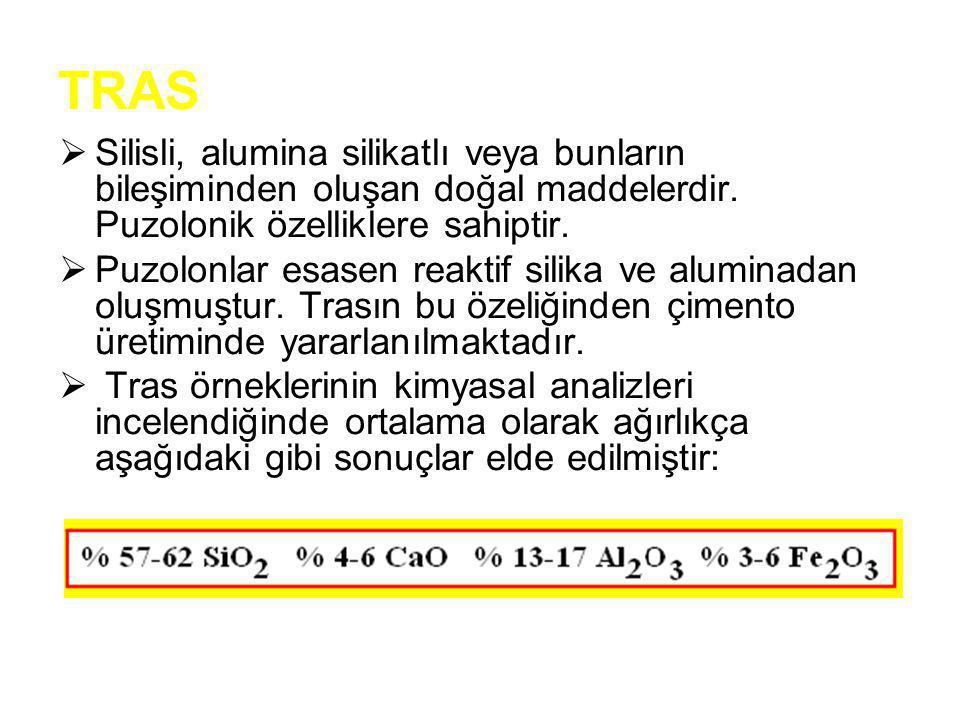 TRAS  Silisli, alumina silikatlı veya bunların bileşiminden oluşan doğal maddelerdir. Puzolonik özelliklere sahiptir.  Puzolonlar esasen reaktif sil