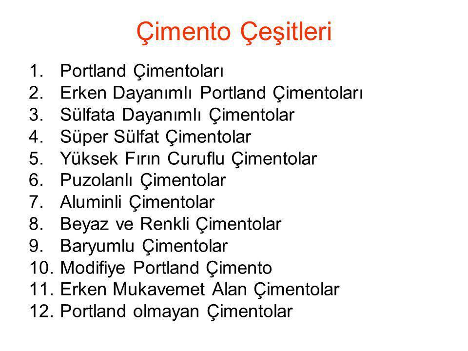 Çimento Çeşitleri 1.Portland Çimentoları 2.Erken Dayanımlı Portland Çimentoları 3.Sülfata Dayanımlı Çimentolar 4.Süper Sülfat Çimentolar 5.Yüksek Fırı