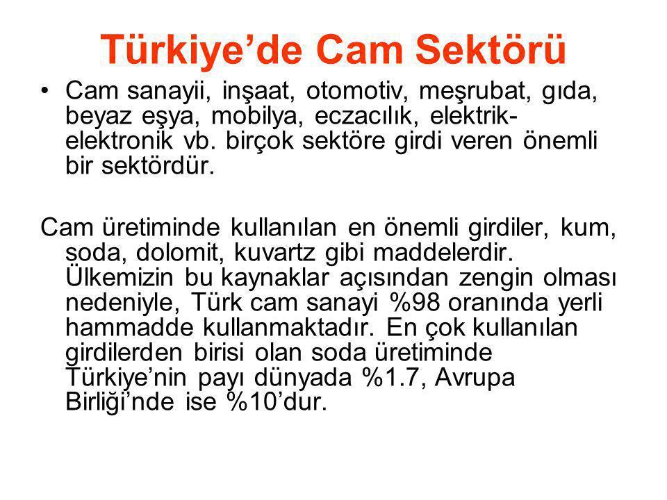 Türkiye'de Cam Sektörü Cam sanayii, inşaat, otomotiv, meşrubat, gıda, beyaz eşya, mobilya, eczacılık, elektrik- elektronik vb. birçok sektöre girdi ve