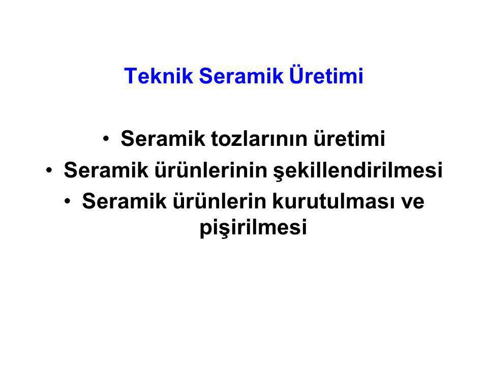 Teknik Seramik Üretimi Seramik tozlarının üretimi Seramik ürünlerinin şekillendirilmesi Seramik ürünlerin kurutulması ve pişirilmesi