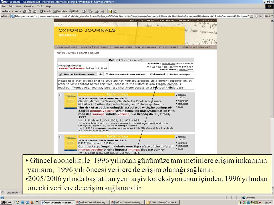 Güncel abonelik ile 1996 yılından günümüze tam metinlere erişim imkanının yanısıra, 1996 yılı öncesi verilere de erişim olanağı sağlanır. 2005/2006 yı