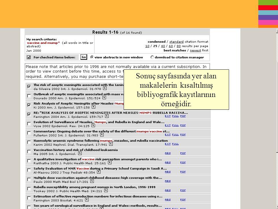 Sonuç sayfasında yer alan makalelerin kısaltılmış bibliyografik kayıtlarının örneğidir.