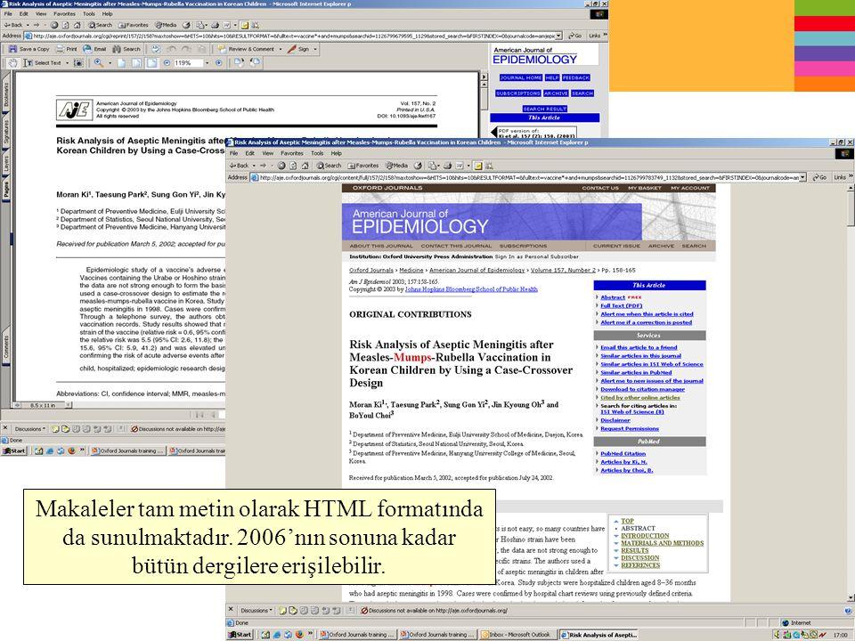 Makaleler tam metin olarak HTML formatında da sunulmaktadır. 2006'nın sonuna kadar bütün dergilere erişilebilir.