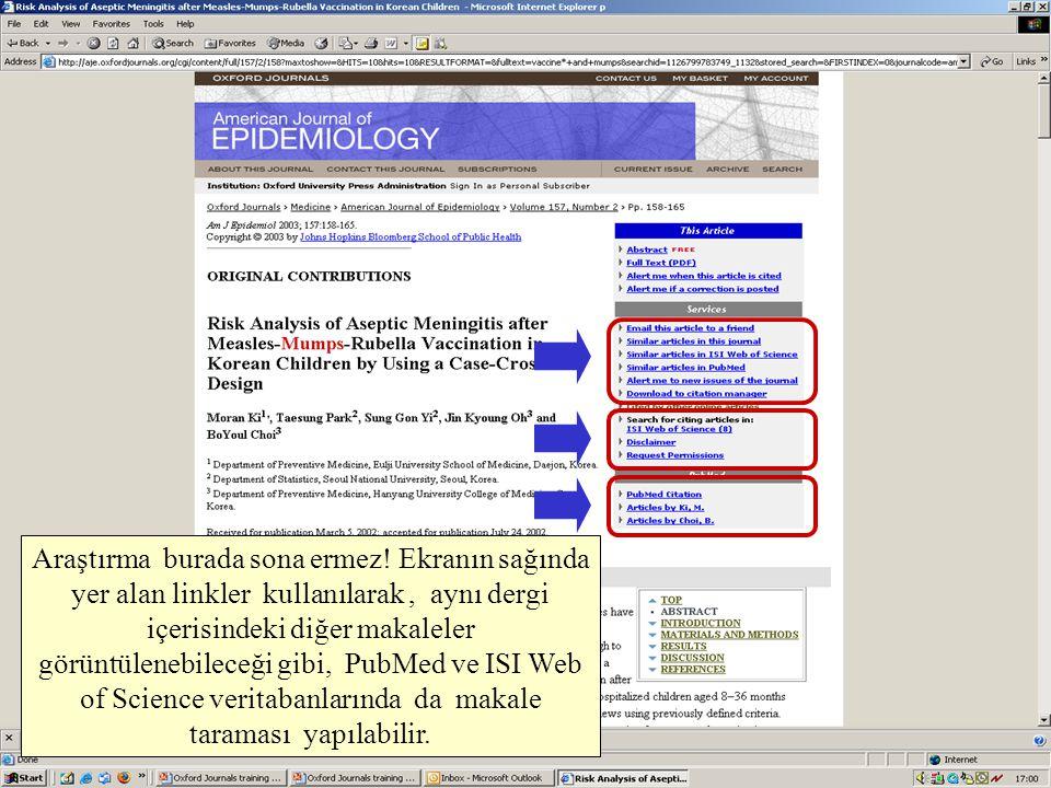 Araştırma burada sona ermez! Ekranın sağında yer alan linkler kullanılarak, aynı dergi içerisindeki diğer makaleler görüntülenebileceği gibi, PubMed v