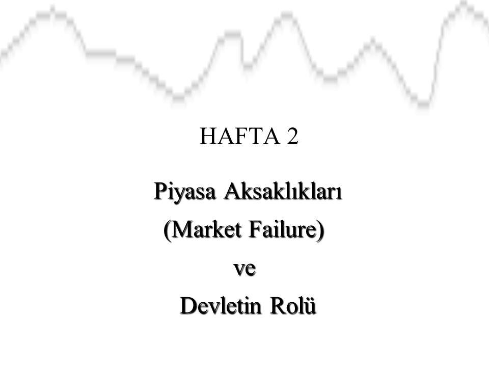 HAFTA 2 Piyasa Aksaklıkları (Market Failure) ve Devletin Rolü