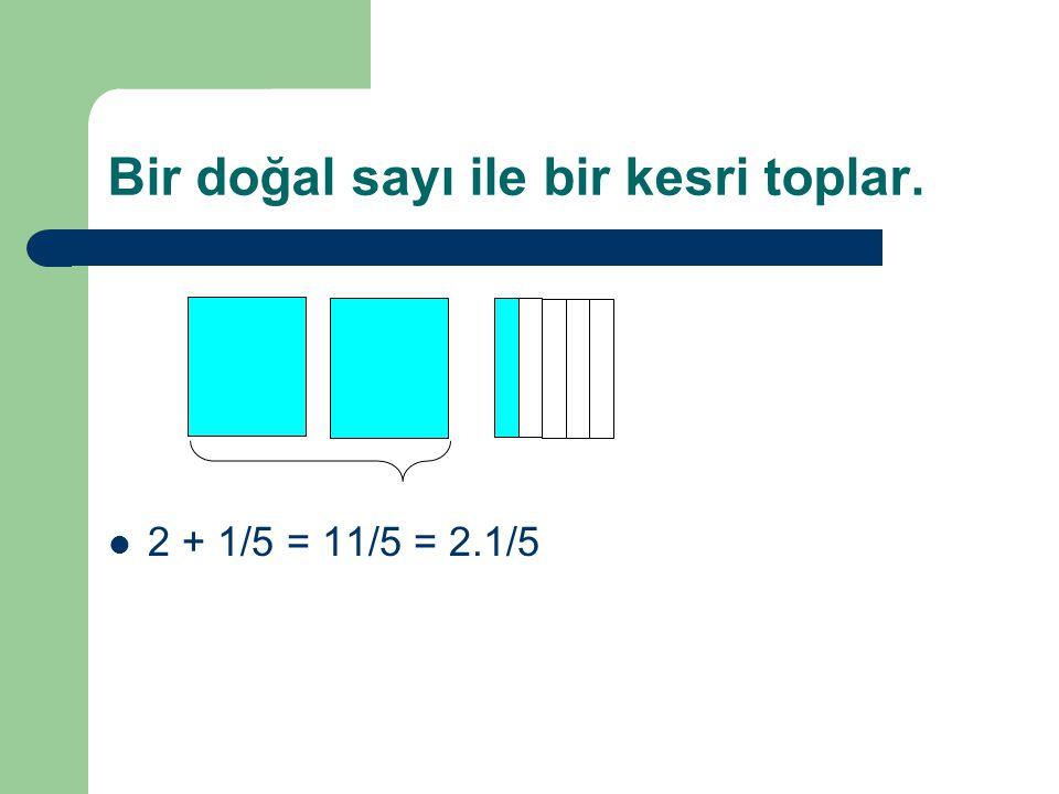 Bir doğal sayı ile bir kesri toplar. 2 + 1/5 = 11/5 = 2.1/5