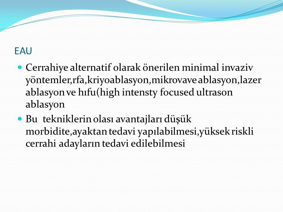 EAU Cerrahiye alternatif olarak önerilen minimal invaziv yöntemler,rfa,kriyoablasyon,mikrovave ablasyon,lazer ablasyon ve hıfu(high intensty focused u