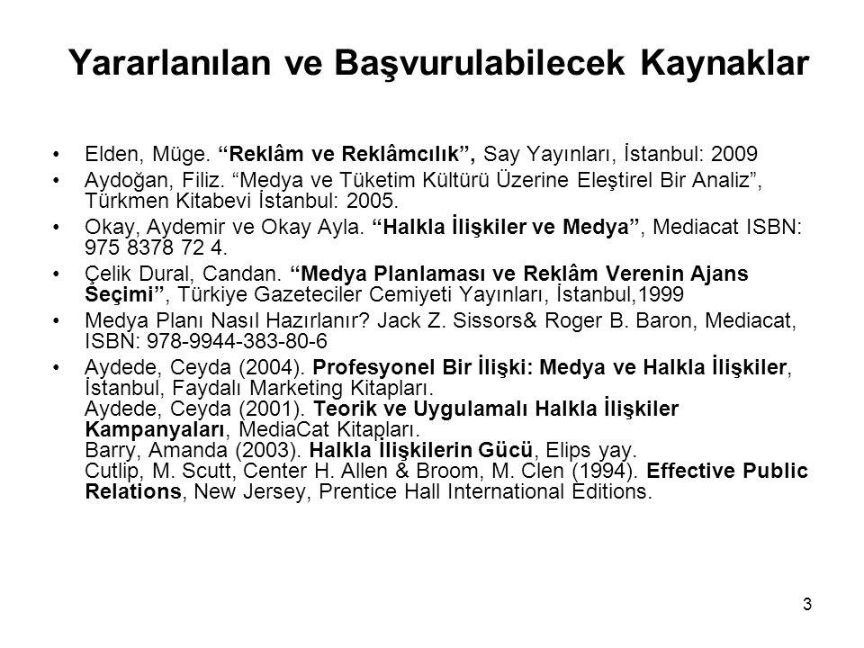 """3 Elden, Müge. """"Reklâm ve Reklâmcılık"""", Say Yayınları, İstanbul: 2009 Aydoğan, Filiz. """"Medya ve Tüketim Kültürü Üzerine Eleştirel Bir Analiz"""", Türkmen"""