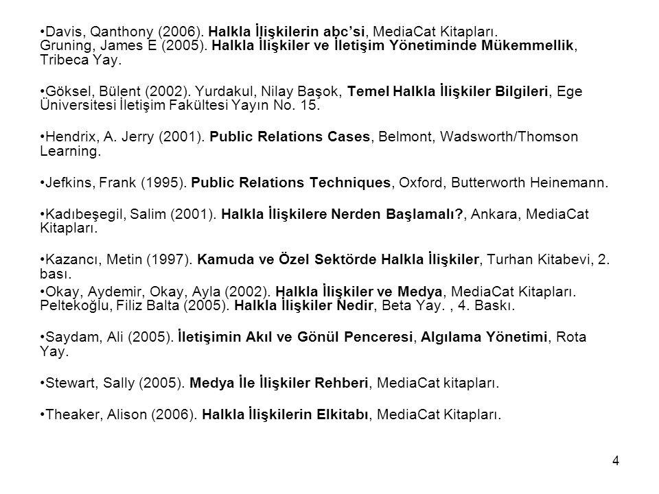 4 Davis, Qanthony (2006). Halkla İlişkilerin abc'si, MediaCat Kitapları. Gruning, James E (2005). Halkla İlişkiler ve İletişim Yönetiminde Mükemmellik