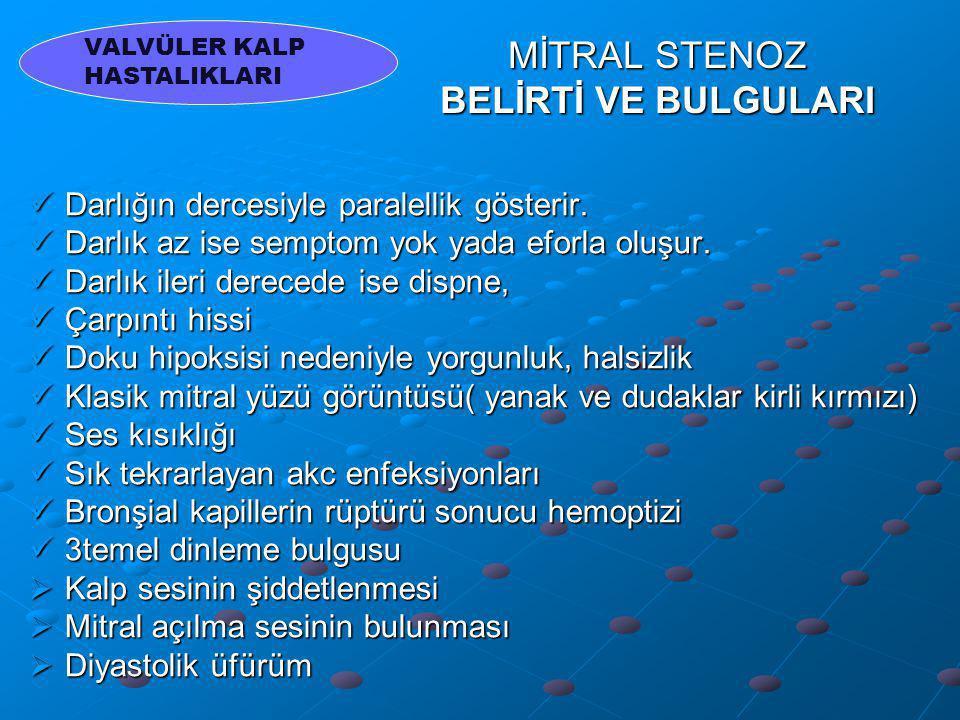 MİTRAL STENOZ TEDAVİSİ Pulmoner baskıyı azaltmak için tuz kısıtlanır ve oral diüretikler verilir.