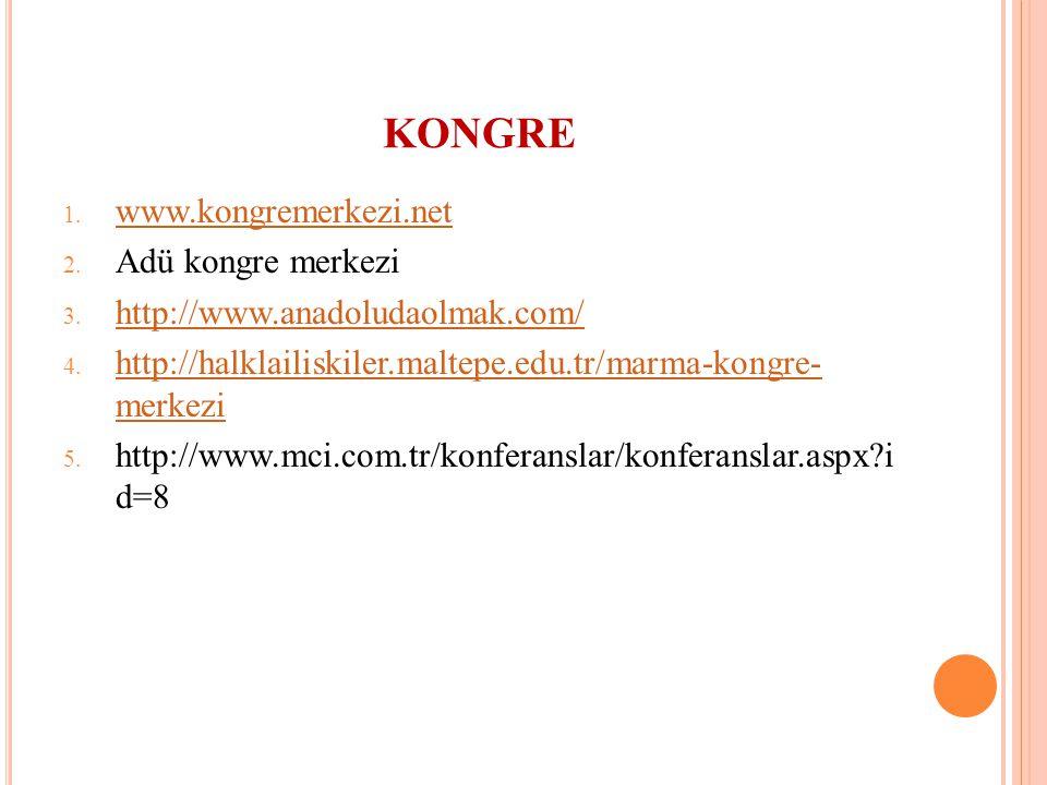 1. www.kongremerkezi.net www.kongremerkezi.net 2. Adü kongre merkezi 3. http://www.anadoludaolmak.com/ http://www.anadoludaolmak.com/ 4. http://halkla