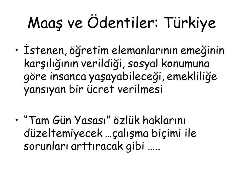 Maaş ve Ödentiler: Türkiye İstenen, öğretim elemanlarının emeğinin karşılığının verildiği, sosyal konumuna göre insanca yaşayabileceği, emekliliğe yan