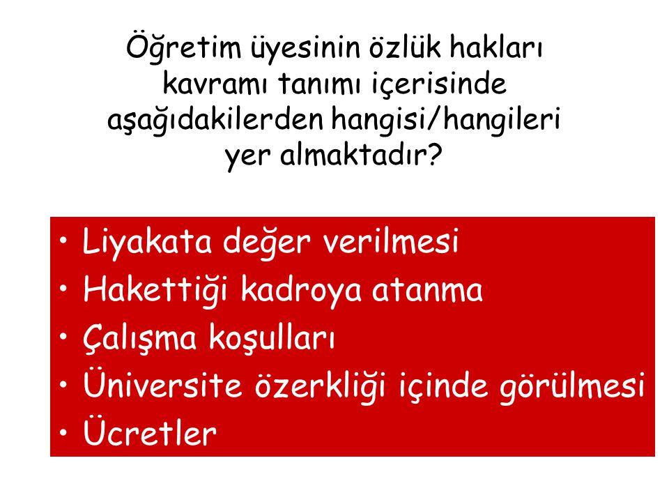 Öğretim üyesinin özlük hakları kavramı tanımı içerisinde aşağıdakilerden hangisi/hangileri yer almaktadır? Liyakata değer verilmesi Hakettiği kadroya