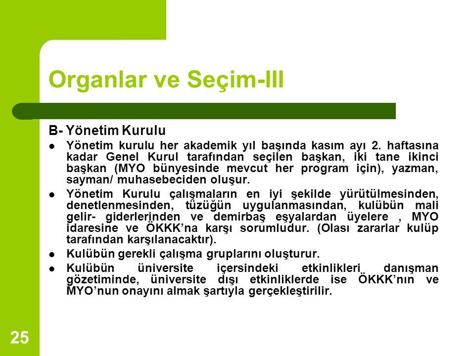 25 Organlar ve Seçim-III B- Yönetim Kurulu Yönetim kurulu her akademik yıl başında kasım ayı 2.