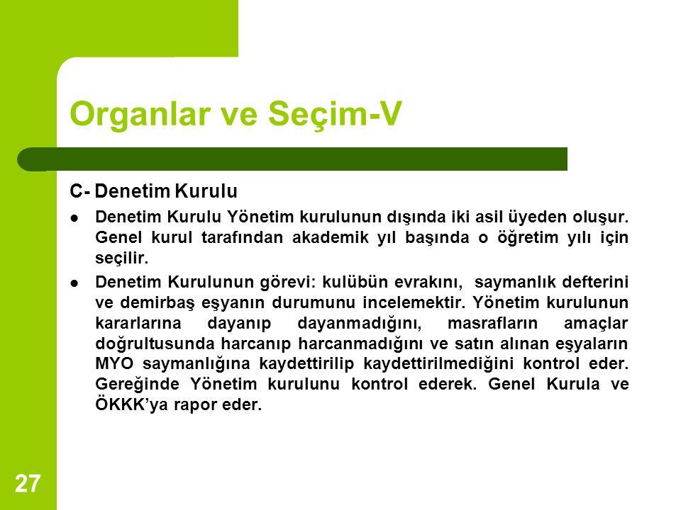 27 Organlar ve Seçim-V C- Denetim Kurulu Denetim Kurulu Yönetim kurulunun dışında iki asil üyeden oluşur. Genel kurul tarafından akademik yıl başında