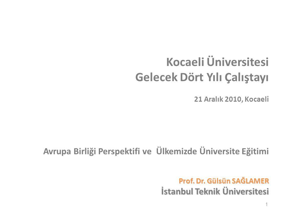 1 Kocaeli Üniversitesi Gelecek Dört Yılı Çalıştayı 21 Aralık 2010, Kocaeli Avrupa Birliği Perspektifi ve Ülkemizde Üniversite Eğitimi Prof.