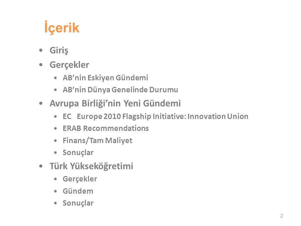 13 Yayınlarda artış Oranları 1995-2005 Turkey 11.6% Simon Marginson, 2008
