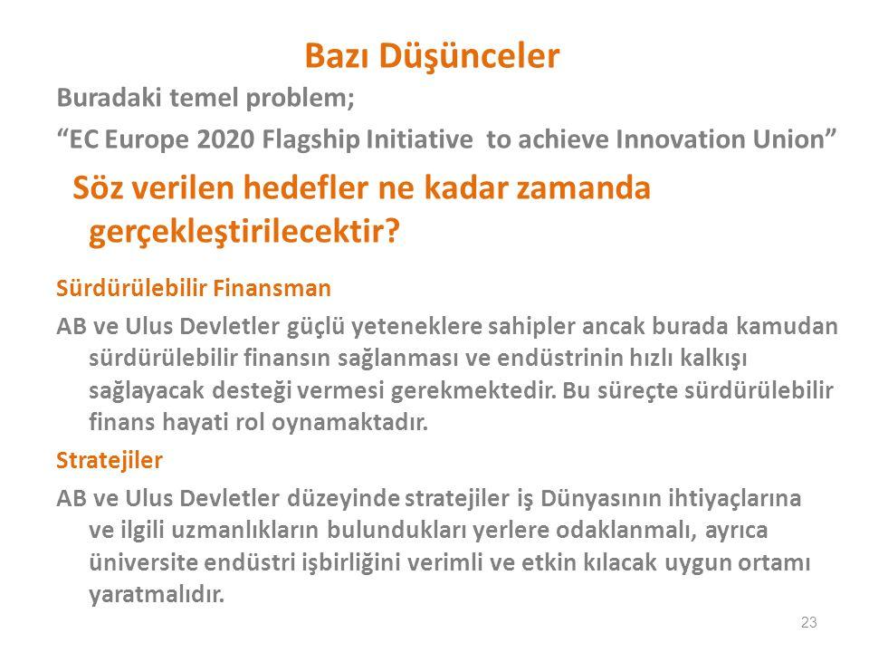 Bazı Düşünceler Buradaki temel problem; EC Europe 2020 Flagship Initiative to achieve Innovation Union Söz verilen hedefler ne kadar zamanda gerçekleştirilecektir.
