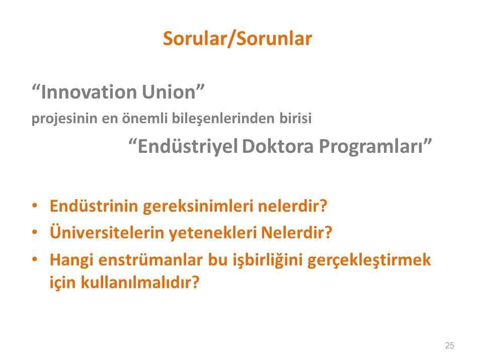 Sorular/Sorunlar Innovation Union projesinin en önemli bileşenlerinden birisi Endüstriyel Doktora Programları Endüstrinin gereksinimleri nelerdir.