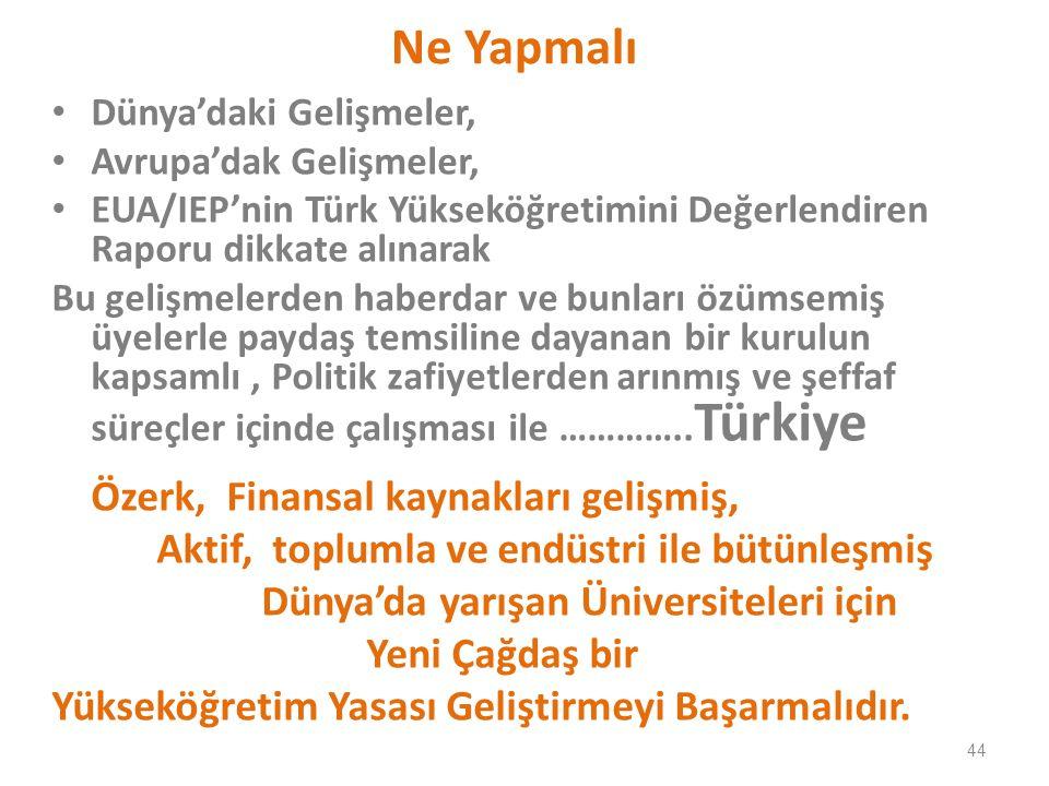 Ne Yapmalı Dünya'daki Gelişmeler, Avrupa'dak Gelişmeler, EUA/IEP'nin Türk Yükseköğretimini Değerlendiren Raporu dikkate alınarak Bu gelişmelerden haberdar ve bunları özümsemiş üyelerle paydaş temsiline dayanan bir kurulun kapsamlı, Politik zafiyetlerden arınmış ve şeffaf süreçler içinde çalışması ile …………..