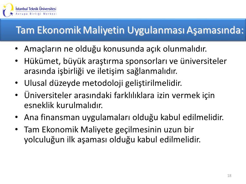 Tam Ekonomik Maliyetin Uygulanması Aşamasında: Amaçların ne olduğu konusunda açık olunmalıdır.