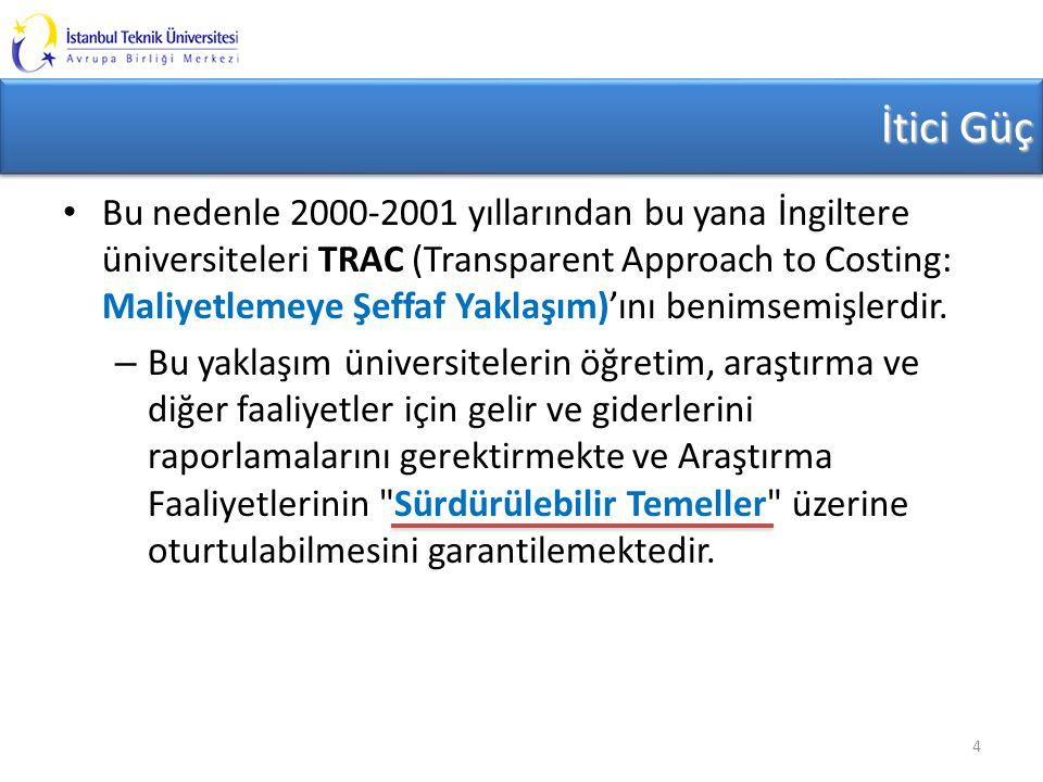 İtici Güç Bu nedenle 2000-2001 yıllarından bu yana İngiltere üniversiteleri TRAC (Transparent Approach to Costing: Maliyetlemeye Şeffaf Yaklaşım)'ını benimsemişlerdir.