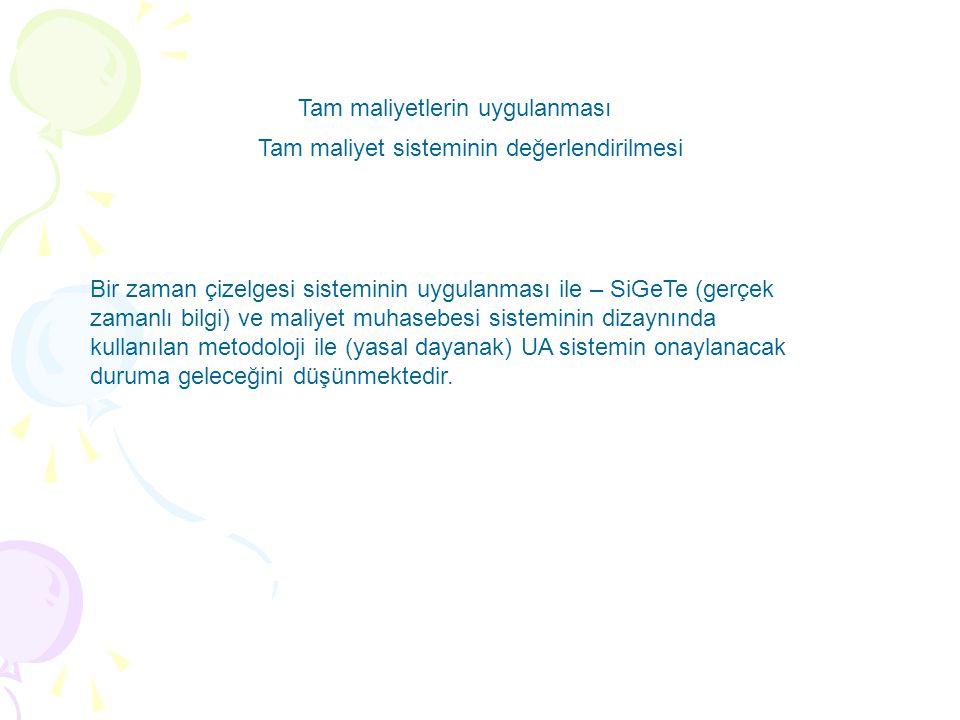 Bir zaman çizelgesi sisteminin uygulanması ile – SiGeTe (gerçek zamanlı bilgi) ve maliyet muhasebesi sisteminin dizaynında kullanılan metodoloji ile (