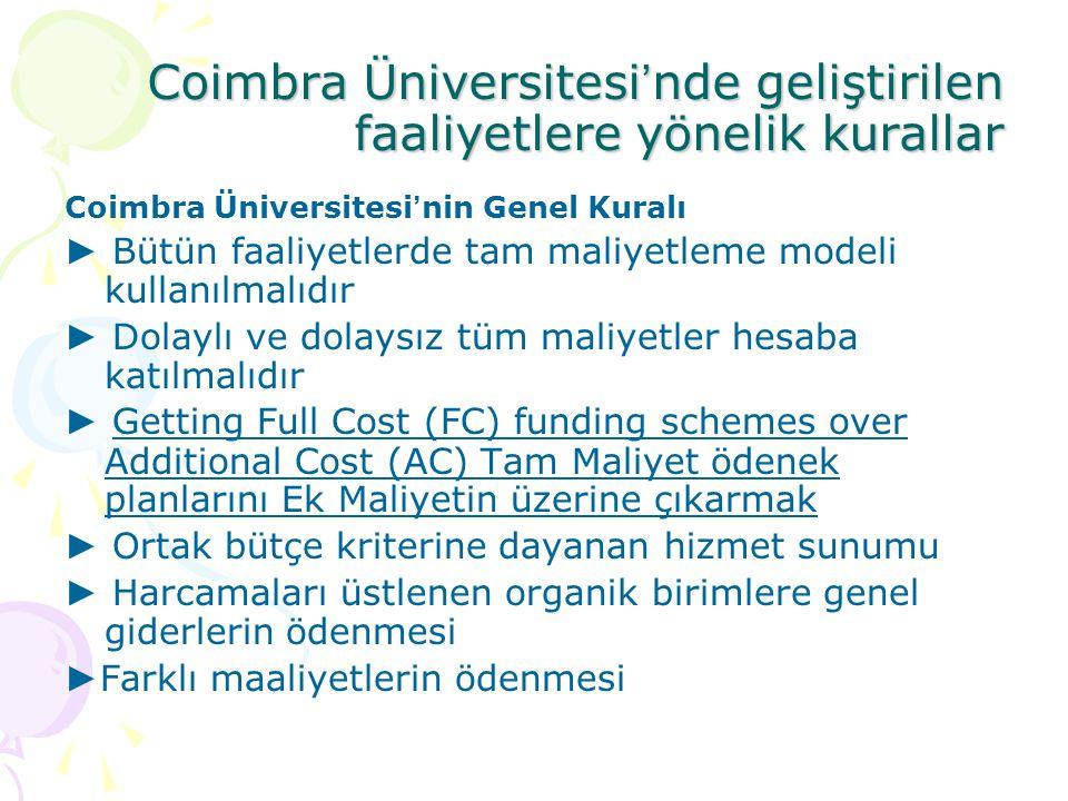 Coimbra Üniversitesi ' nde geliştirilen faaliyetlere yönelik kurallar Coimbra Üniversitesi ' nin Genel Kuralı ► Bütün faaliyetlerde tam maliyetleme mo