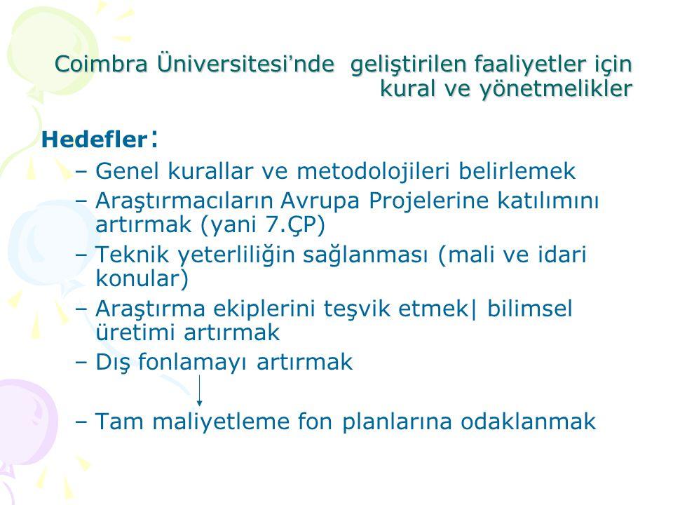 Coimbra Üniversitesi ' nde geliştirilen faaliyetler için kural ve yönetmelikler Hedefler : –Genel kurallar ve metodolojileri belirlemek –Araştırmacıla