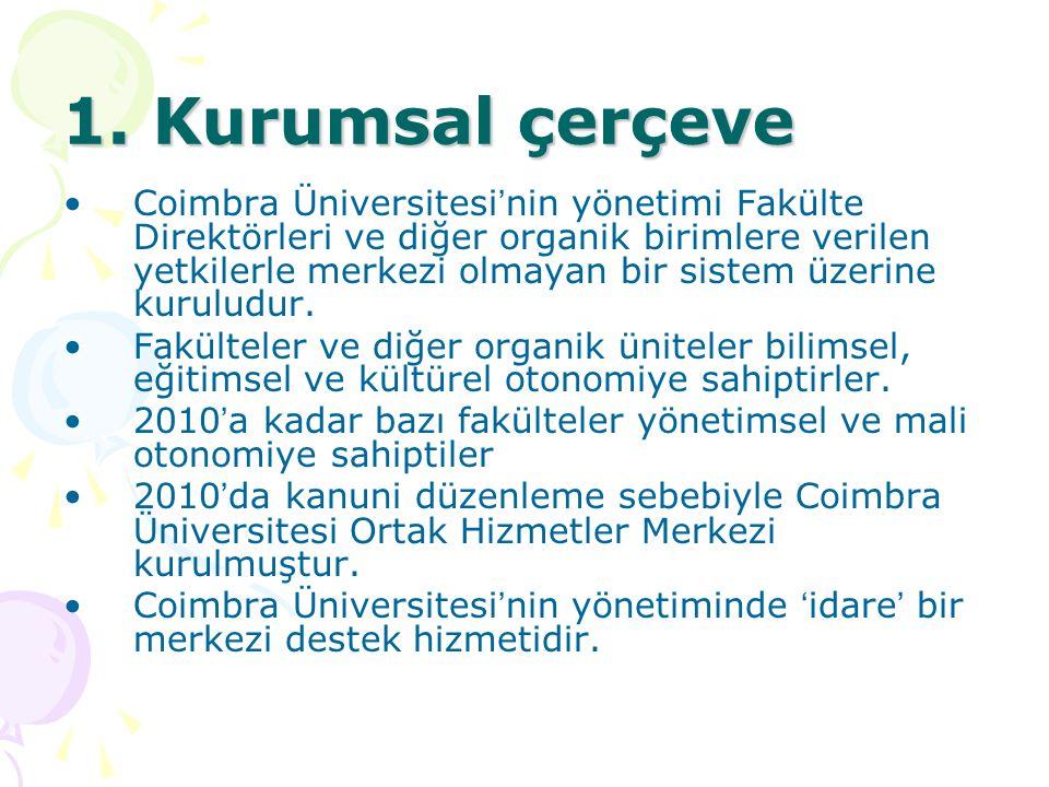 1. Kurumsal çerçeve Coimbra Üniversitesi ' nin yönetimi Fakülte Direktörleri ve diğer organik birimlere verilen yetkilerle merkezi olmayan bir sistem