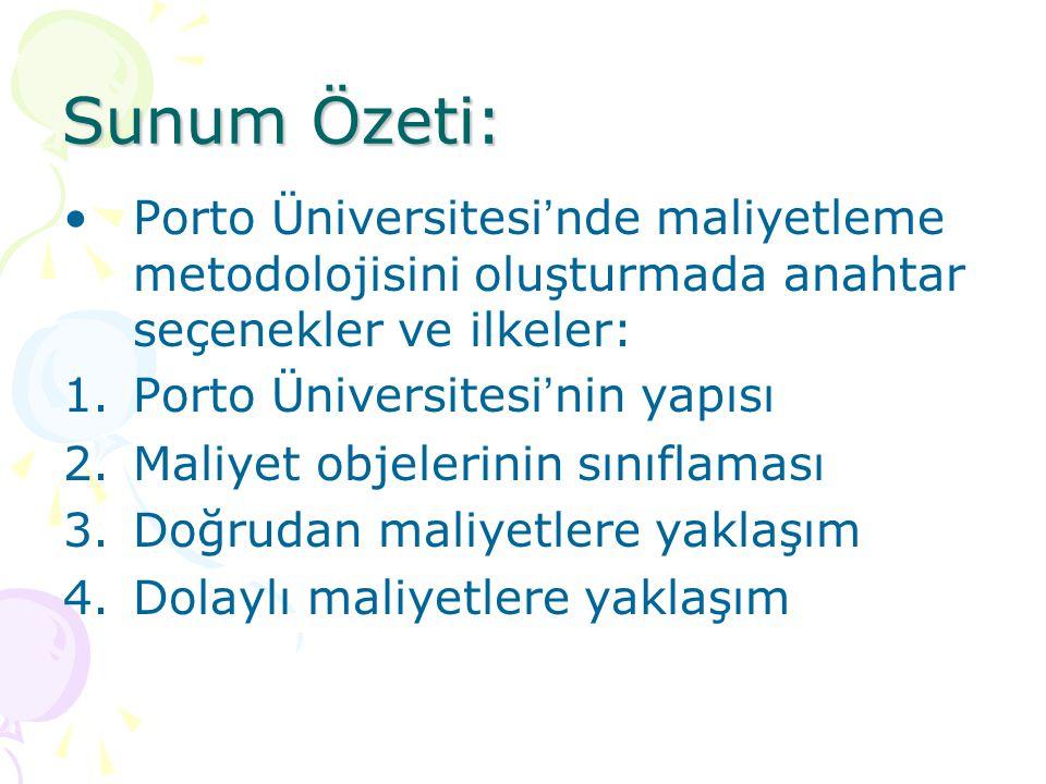 Sunum Özeti: Porto Üniversitesi ' nde maliyetleme metodolojisini oluşturmada anahtar seçenekler ve ilkeler: 1.Porto Üniversitesi ' nin yapısı 2.Maliye