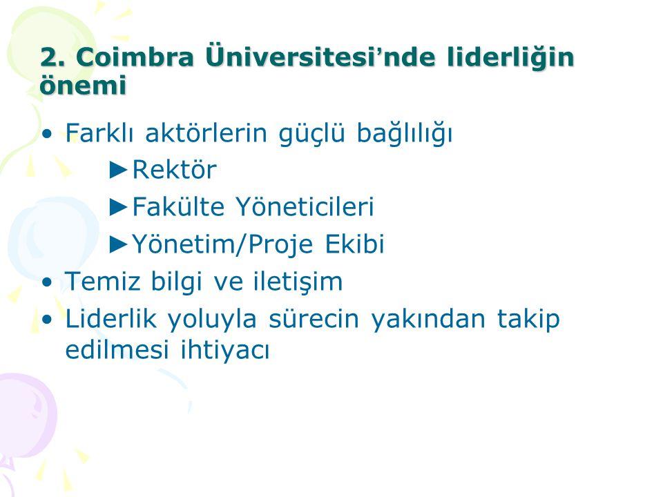 2. Coimbra Üniversitesi ' nde liderliğin önemi Farklı aktörlerin güçlü bağlılığı ► Rektör ► Fakülte Yöneticileri ► Yönetim/Proje Ekibi Temiz bilgi ve