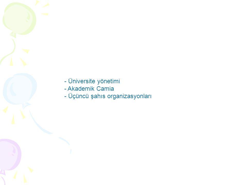 - Üniversite yönetimi - Akademik Camia - Üçüncü şahıs organizasyonları