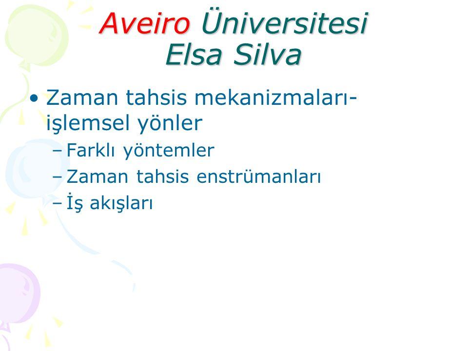 Aveiro Üniversitesi Elsa Silva Zaman tahsis mekanizmaları- işlemsel yönler –Farklı yöntemler –Zaman tahsis enstrümanları –İş akışları