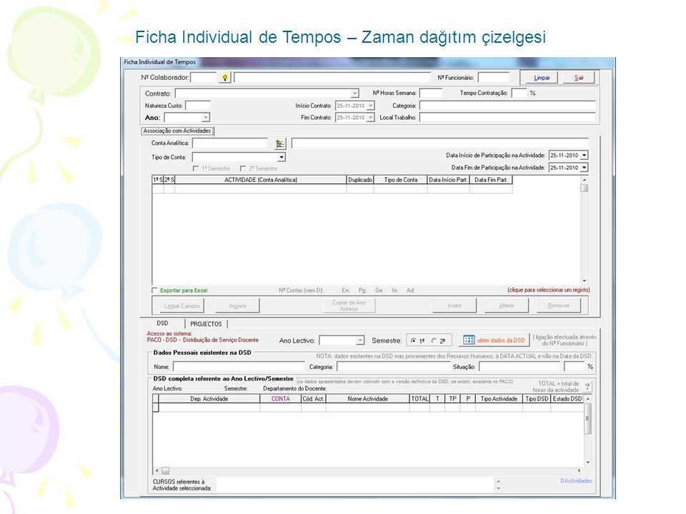 Ficha Individual de Tempos – Zaman dağıtım çizelgesi