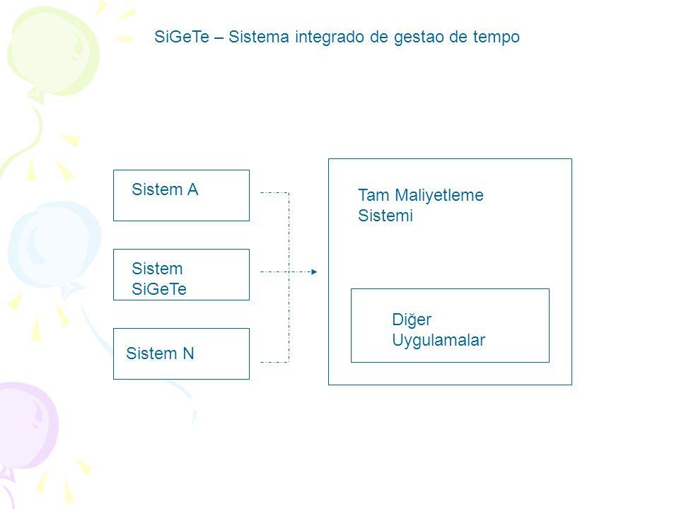 SiGeTe – Sistema integrado de gestao de tempo Sistem A Sistem SiGeTe Sistem N Tam Maliyetleme Sistemi Diğer Uygulamalar