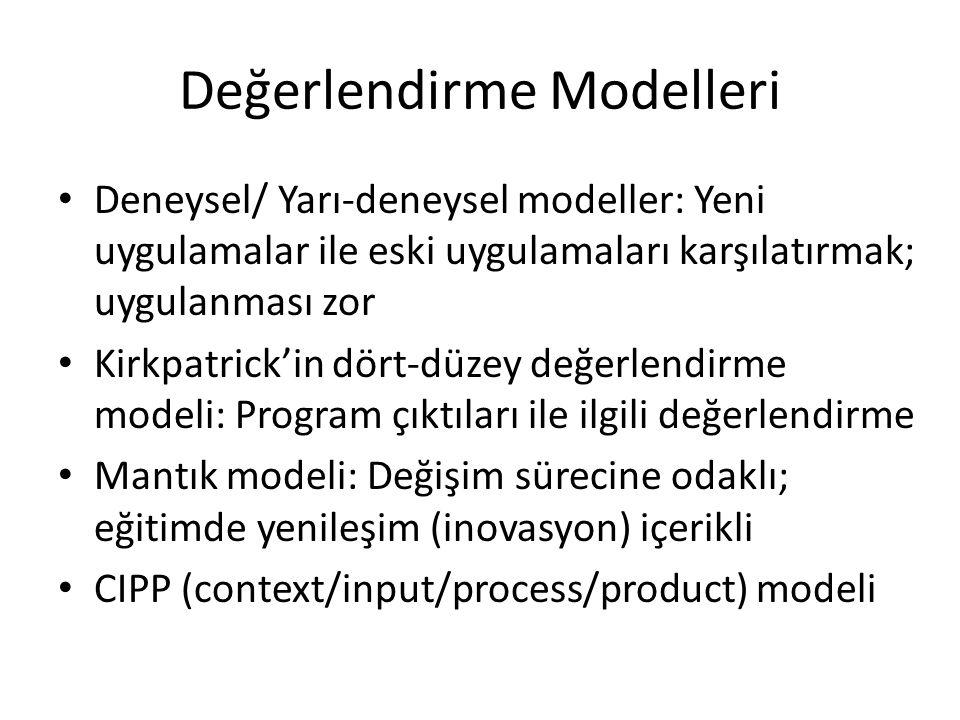 Değerlendirme Modelleri Deneysel/ Yarı-deneysel modeller: Yeni uygulamalar ile eski uygulamaları karşılatırmak; uygulanması zor Kirkpatrick'in dört-dü