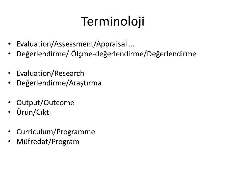 Terminoloji Evaluation/Assessment/Appraisal... Değerlendirme/ Ölçme-değerlendirme/Değerlendirme Evaluation/Research Değerlendirme/Araştırma Output/Out