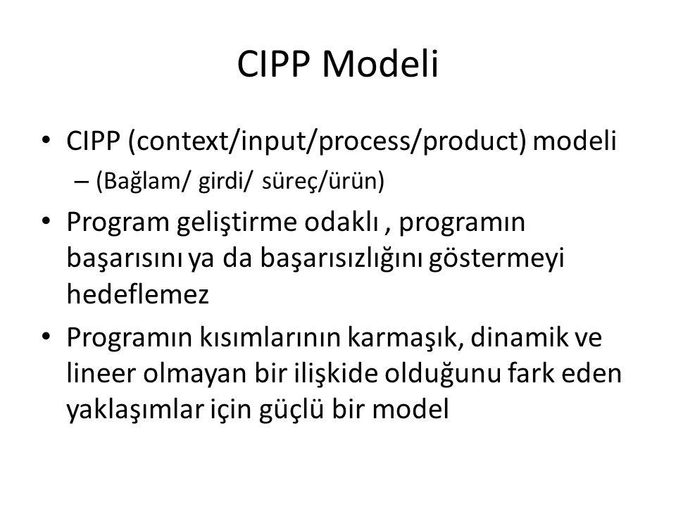 CIPP Modeli CIPP (context/input/process/product) modeli – (Bağlam/ girdi/ süreç/ürün) Program geliştirme odaklı, programın başarısını ya da başarısızl